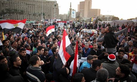 Demonstrators Demolish a Wall Set up by The Army in Cairo