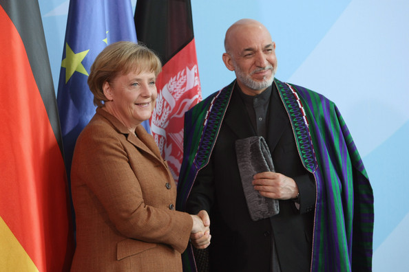 Afghan President Hamid Karzai and his German counterpart Merkel