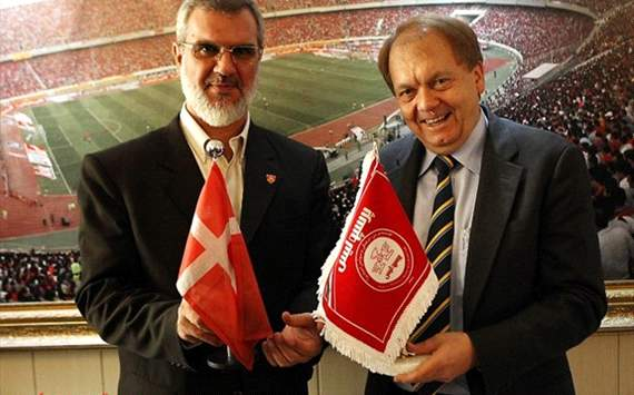 the president of Persepolis FC, Mohammad Royanian, met Andres Christian Haugaard, ambassador of Denmark to Iran