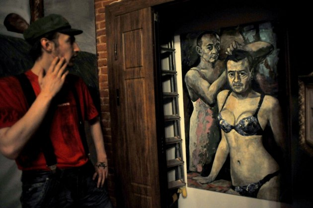 Putin and Medvedev In Drag Portrait Confiscated Among Others