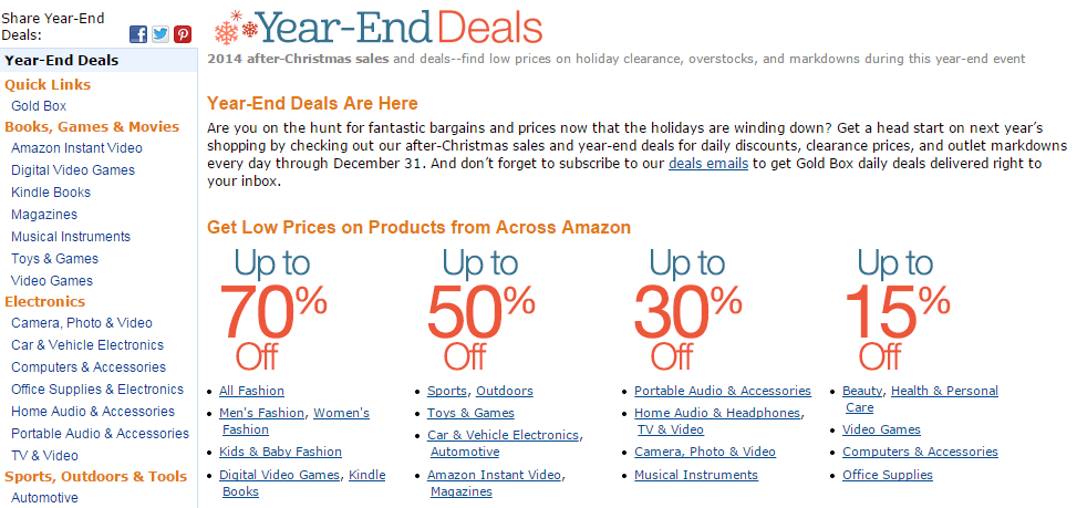 Amazon Kicks Off Big 2014 Year End Sale Early