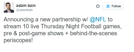 Twitter Will Stream NFL Thursday Night Football Games On Periscope